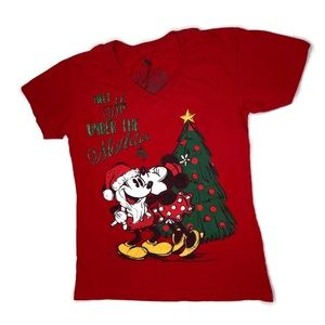 Disney Minnie And Mickey Christmas V-Neck TShirt S